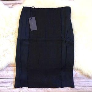 Prada Burlap Panel Black Pencil Skirt